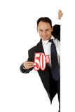 Man, fifty percent discount sign Stock Photography