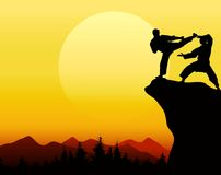 Man fight with sunset background Stock Image