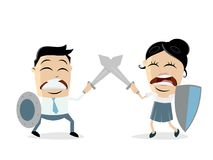 Man fighting against woman. Clipart Royalty Free Stock Photography