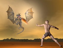 Man fighting dragon - 3D render. Young man fighting winged dragon spitting fire out by brown sunset Stock Photos