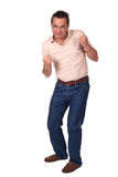Man in Fighting Pose Ready to Punch Stock Photo