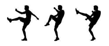 Man fighting silhouettes set 1. Young white man fighting silhouettes Stock Photography