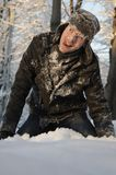 Man fighting with snowballs Royalty Free Stock Photos