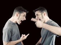 Free Man Fighting With Himself Royalty Free Stock Image - 19904496
