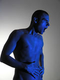 Man figure. Blue Figure Posing royalty free stock image