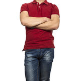 Man figure in red shirt. On white background Royalty Free Stock Photography