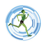 Man figure running. Olympic sports disciplines icon on a circular background Stock Images