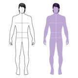Man figure silhouette. Fashion man full length outlined template figure silhouette with marked body's sizes lines (front view), vector illustration isolated on Stock Photo