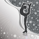 Man figure skates.Design template with lines and snowflakes  bac. Male athlete figure skates.Back abstract snowflakes background  and wavy lines.Design template Royalty Free Stock Photography