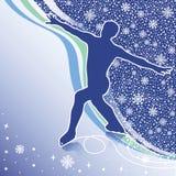 Man figure skates.Design template with snowflakes. Male athlete figure skates.Back abstract snowflakes background  and wavy lines.Design template,screensaver Stock Photos