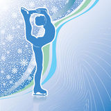 Man figure skates.Design template with snowflakes. Male athlete figure skates.Back abstract snowflakes background  and wavy lines.Design template,screensaver Royalty Free Stock Images