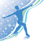 Man figure skates.Design template with snowflakes. Male athlete figure skates.Back abstract snowflakes background  and wavy lines.Design template,screensaver Stock Image