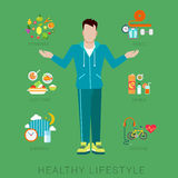 Man figure slim healthy lifestyle vector infographics. Flat slim healthy lifestyle vector infographics concept. Thin male man human figure front view with icons Stock Images