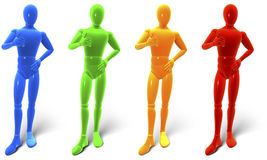 Man, figure standing holding thumbs up. Color sampler blue, green, yellow, red, 3d rendering isolated on white background Stock Image