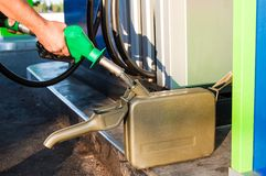 Man filling canister with petrol Royalty Free Stock Photos