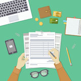 Man filling documents. Men`s hands hold the accounts, payroll, tax form. Workplace with papers, blanks. Top view Vector Royalty Free Stock Image