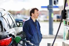 Man filling gasoline fuel Stock Photography
