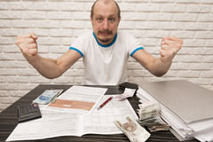 Man during filling Tax Forms Stock Photos