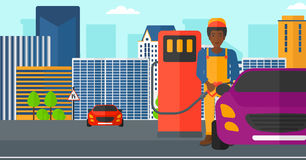 Man filling up fuel into car. An african-american man filling up fuel into the car on a city background vector flat design illustration. Horizontal layout Stock Photo