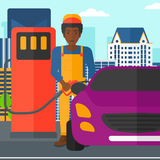 Man filling up fuel into car. An african-american man filling up fuel into the car on a city background vector flat design illustration. Square layout Royalty Free Stock Photography