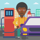 Man filling up fuel into car. An african-american man filling up fuel into the car on a city background vector flat design illustration. Square layout Royalty Free Stock Photo