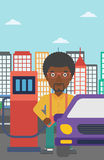 Man filling up fuel into car. An african-american man filling up fuel into the car on a city background vector flat design illustration. Vertical layout Royalty Free Stock Images