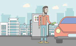Man filling up fuel into car. An african-american man filling up fuel into the car on city background. Vector line design illustration. Horizontal layout with a Stock Photography