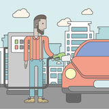 Man filling up fuel into car. An african-american man filling up fuel into the car on city background. Vector line design illustration. Square layout Stock Photography