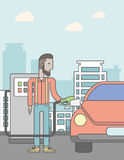 Man filling up fuel into car. An african-american man filling up fuel into the car on city background. Vector line design illustration. Vertical poster layout Royalty Free Stock Photography