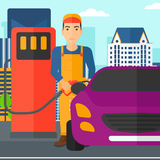 Man filling up fuel into car. A man filling up fuel into the car on a city background vector flat design illustration. Square layout Royalty Free Stock Photos