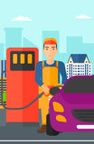 Man filling up fuel into car. A man filling up fuel into the car on a city background vector flat design illustration. Vertical layout Stock Photos