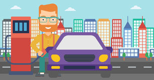 Man filling up fuel into car. A hipster man with the beard filling up fuel into the car on a city background vector flat design illustration. Horizontal layout Stock Images
