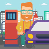 Man filling up fuel into car. A hipster man with the beard filling up fuel into the car on a city background vector flat design illustration. Square layout Stock Photography