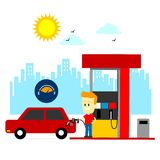 Man Filling Up Gas Tank. A Man Filling Up Gas Tank Car at Gas Station (in Flat Cartoon Style Royalty Free Stock Image
