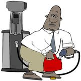 Man filling up plastic gasoline container stock illustration