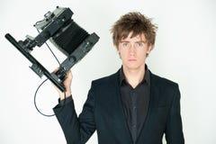 Man with film camera stock photo