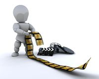 Man with film clip and clapper board Stock Photos