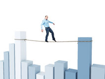 Man on financial rope. Acrobat walk on rope with financial chart background Royalty Free Stock Photo
