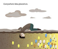 Man find idea under the ground. Man find idea bulb under the ground Royalty Free Stock Photo