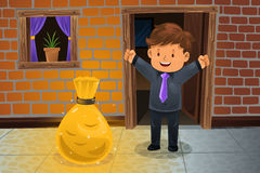 Man finding a bag of money. A vector illustration of happy man finding a bag of money in front his house Royalty Free Stock Photo