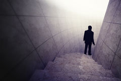 Man finding way as exploration concept. Render illustration Stock Photography