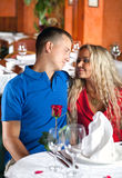 The man and the fine girl at restaurant Royalty Free Stock Image