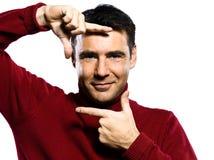 Man finger frame gesture Stock Image
