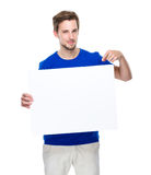 Man finger point down to white board Royalty Free Stock Photo