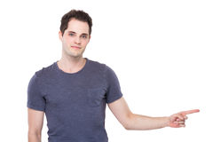 Man with finger point up Stock Images