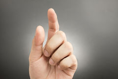 Man finger pointing and touching Royalty Free Stock Photography