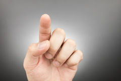 Man finger pointing and touching Stock Photos