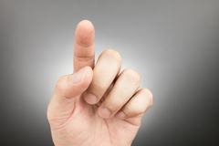 Man finger pointing and touching Stock Photography