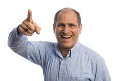 Man with finger pointing at viewer positive Royalty Free Stock Images