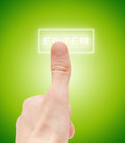 Man finger push enter button Royalty Free Stock Image